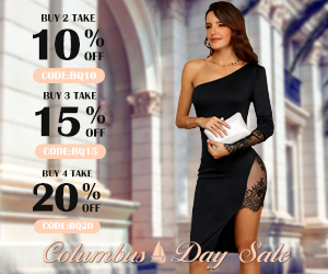 columbus day, buy 3 get 15% off, buy 4 get 20% off sitewide,free shipping over 59, extra 10% off for the first order