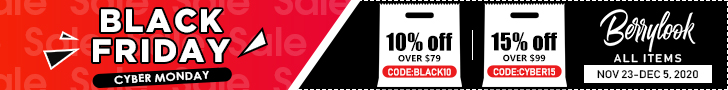 Berrylook Black Friday All Orders 10% Off $79+ Code: black10, 15% Off $99+, Code: cyber15