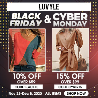 Luvyle.com Black Friday 10% Off $59 Code: black10, 15% Off $99, Code: cyber15